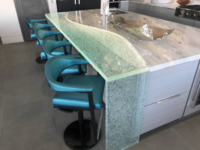 cast thick solid glass wave countertop