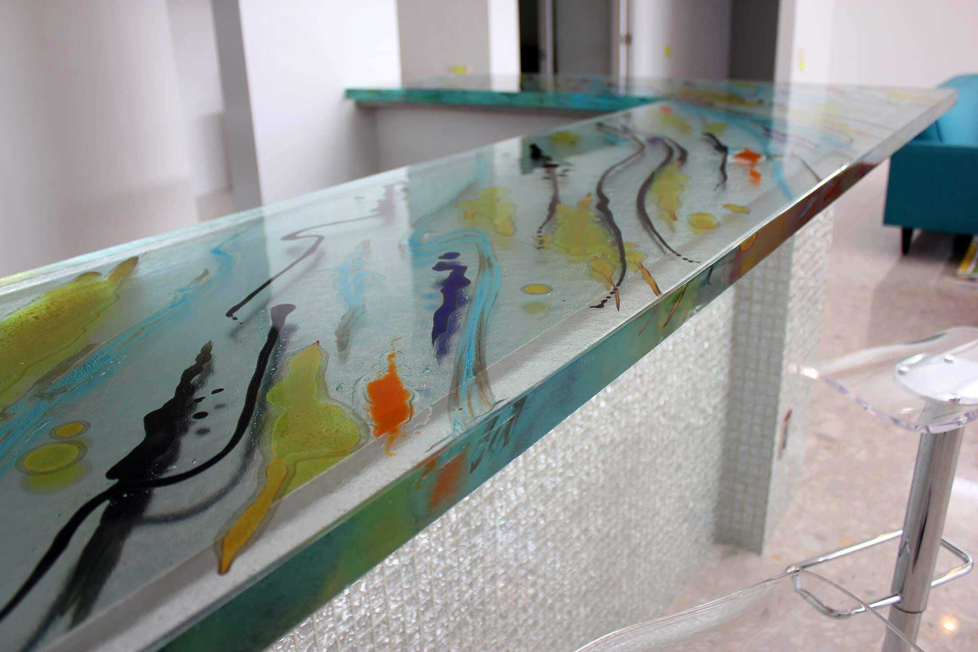 Glass Bar Tops for Commercial, Home, Deck, and Poolside Installations, Indoors or Out