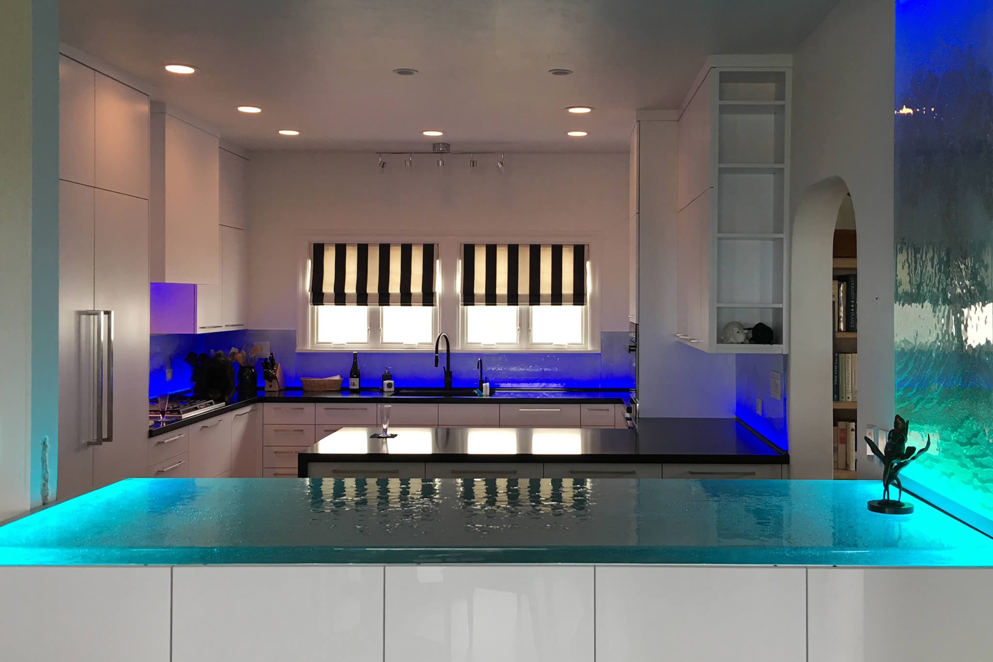 Brilliant Cast Glass Kitchen Countertops and Islands Custom Made to Your Specs
