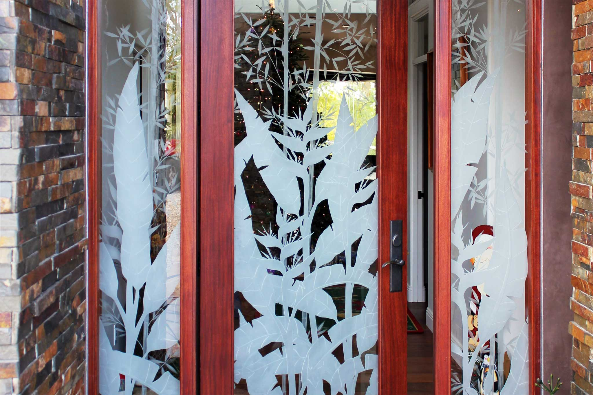 Sandblasted and Etched Glass Designs for Doors, Windows, Signage, Room Dividers, and More