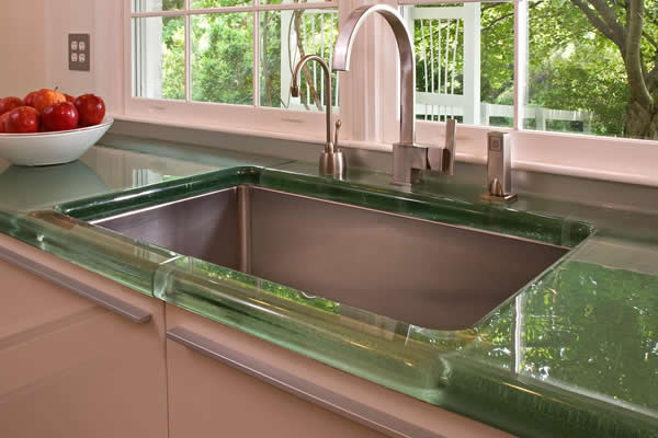custom cast thick glass kitchen countertop by Experience Glass