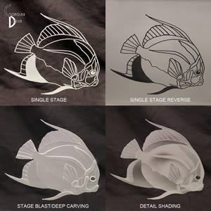 Sample Styles of Etching and Sandblasting Art Glass at Experience Glass, Carlsbad, California
